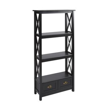 "57"" 2-Drawer/4-Shelf X-Sided Bookcase"