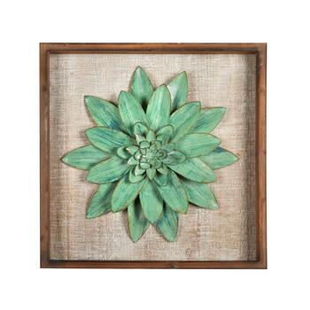 "18"" Green Succulent Plant Wood/Metal Framed Wall Decor"