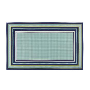 Dark Blue/Green Border All-Weather Area Rug