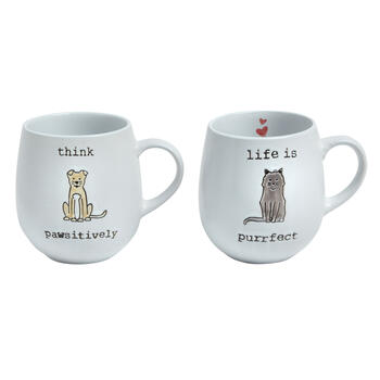 """Think Pawsitively"" Cat Mugs Set view 1"