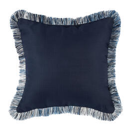 Waverly® Navy/White Fringe Indoor/Outdoor Square Throw Pillow view 1