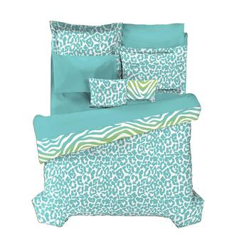 Casual Living by Jessica Sanders Blue and Green Zebra Reversible Comforter Set view 2