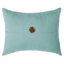 Solid Blue Woven Indoor/Outdoor Oblong Pillow with Button