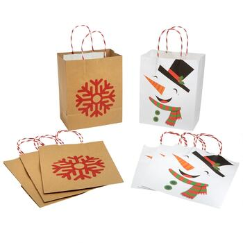 Medium Kraft Snowflake and Snowman Gift Bags, Set of 32
