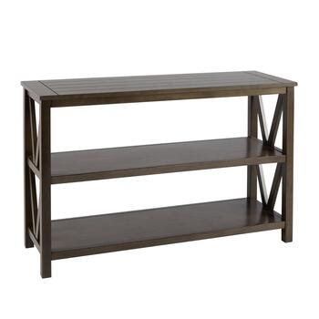 Gray V-Side Plank Top Console Table