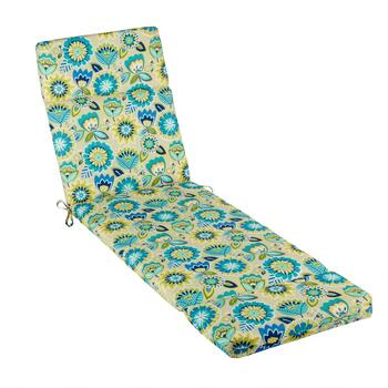 Yellow/Blue Floral Indoor/Outdoor Hinged Chaise Chair Pad