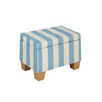 Light Blue Coastal Stripes Storage Ottoman