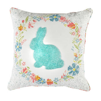 Blue Beaded Bunny Flower Wreath Square Throw Pillow view 1