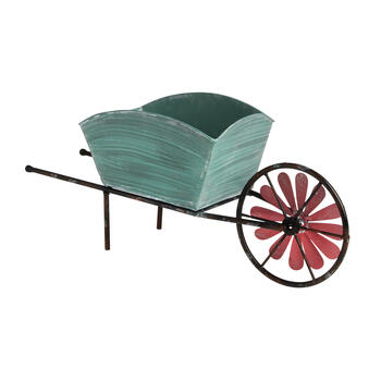 Weathered Wheelbarrow Planter's Pot with Spinner view 1