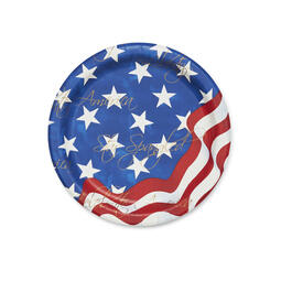 "Red, White & Blue Stars & Stripes 9"" Paper Plates, 90-Count view 1"
