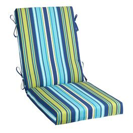 Blue/Green Striped Indoor/Outdoor Hinged Chair Pad