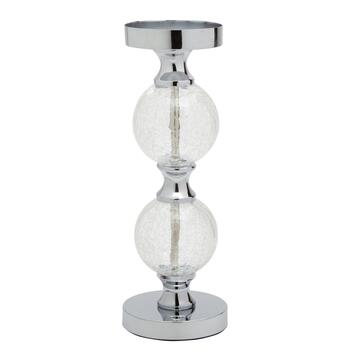 Double Orb Crackle Glass Pillar Candle Holder