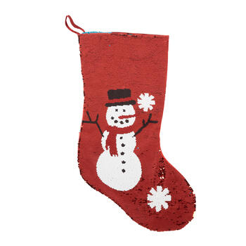 Winter Snowman Color-Changing Sequined Stocking view 1