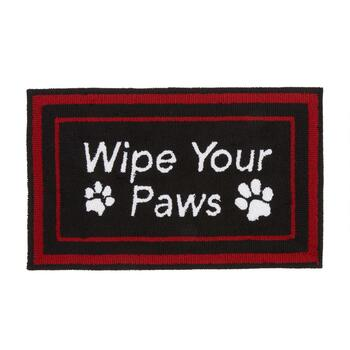 "18""x30"" ""Wipe Your Paws"" Hand-Hooked Mat"