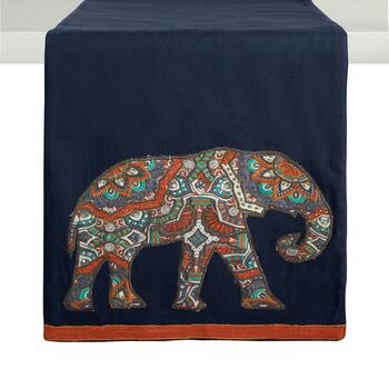 "72"" Elephant Cotton Table Runner"