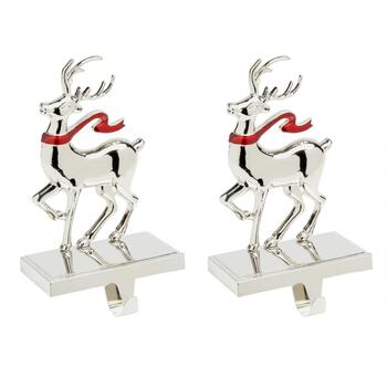 Reindeer with Scarf Metal Stocking Holders, Set of 2
