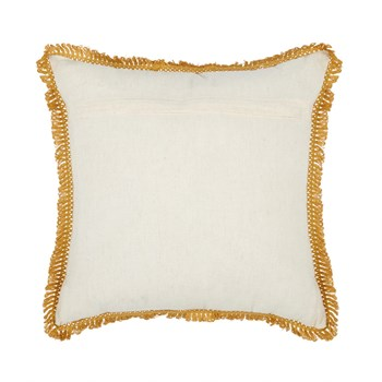 Beaded Sunflower Embellished Square Throw Pillow view 2