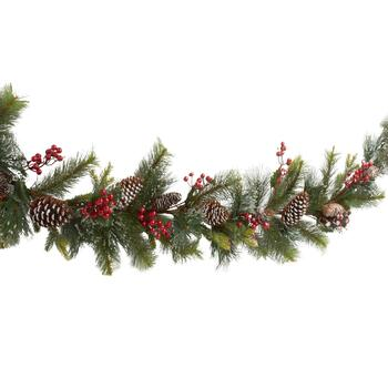 "70"" Snowy Pinecone and Berry Garland"
