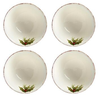 """Merry Christmas"" Santa Ceramic Cereal Bowls, Set of 4 view 2 view 3"