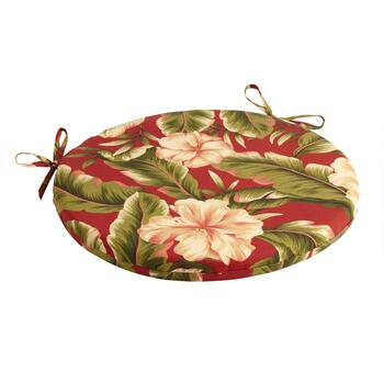 Red Palm Indoor/Outdoor Round Bistro Seat Pad