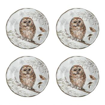 Winter Woodland Owl Melamine Salad Plates, Set of 4