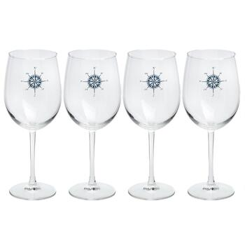 Navy Nautical Compass Wine Glasses, Set of 4