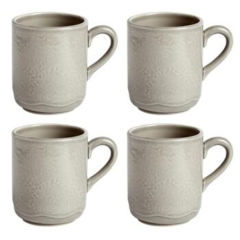 Gray Lace Handmade Ceramic Mugs, Set of 4