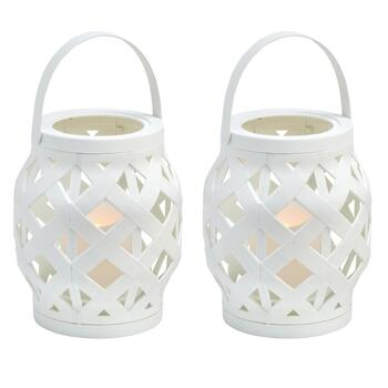 "6.5"" Basketweave LED Pillar Candle Lanterns, Set of 2"