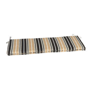 Beige/Black Stripe Indoor/Outdoor Bench Seat Pad view 1