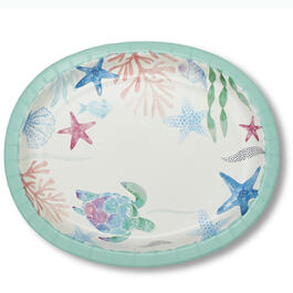 Coasal Tidepool Oval Paper Plates 40-Count view 1