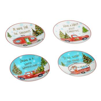 Holiday Campers and Trucks Appetizer Plates, Set of 4