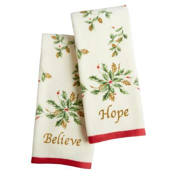 "Lenox® ""Believe"" and ""Hope"" Holly Fingertip Towels Set"