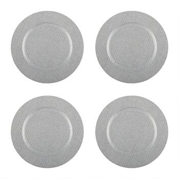 "13"" Round Diamond Charger Plates, Set of 4"