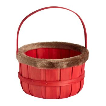 Red Fur-Style Trimmed Holiday Bushel Basket