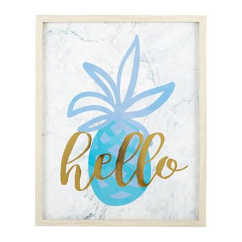 "17""x21"" ""Hello"" Pineapple Gold Foil Framed Wall Decor view 1"