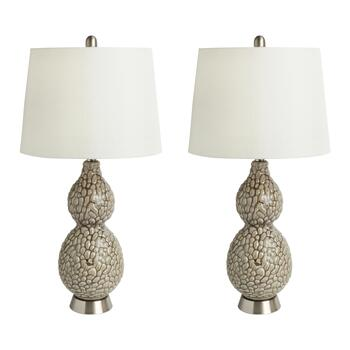 "28"" Gray Gourd Table Lamps, Set of 2"