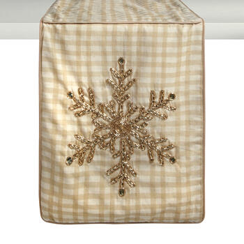 Gold Beaded Snowflake Checkered Table Runner view 1