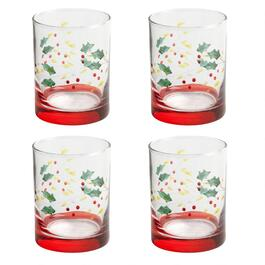 Holly Berry Double Old-Fashioned Glasses, Set of 4