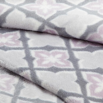 Gray/Purple Tile Pattern Velvety Throw view 2