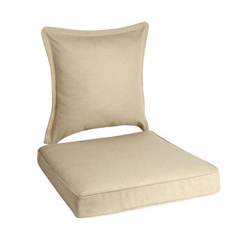 Solid Beige Woven Indoor/Outdoor Deep-Seat Chair Pads Set, 2-Piece view 1