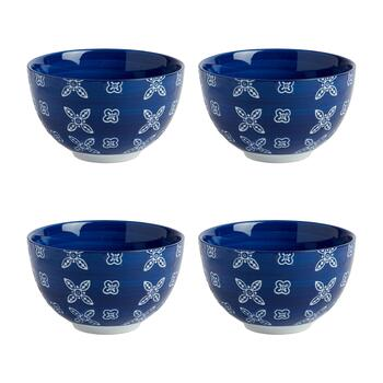 Geometric Flower Medium Tidbit Bowls, Set of 4