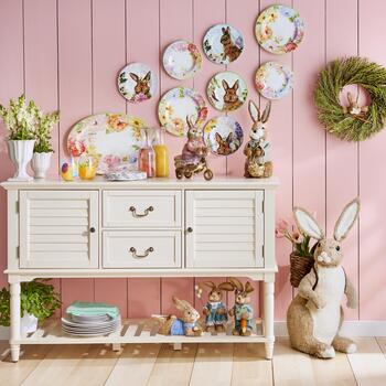 Easter Melamine Dinnerware & Louvered Sideboard