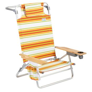 Jumbo Gold/White Striped 5-Position Sand Chair