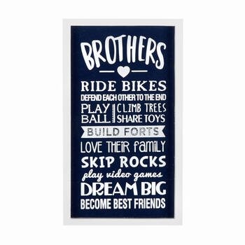 "13"" Navy ""Brothers"" Framed Wall Decor view 1"