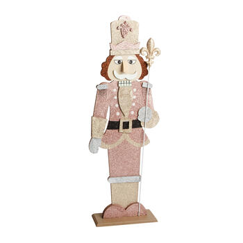 "32"" Pink Jacket Glitter Wood Nutcracker view 1"