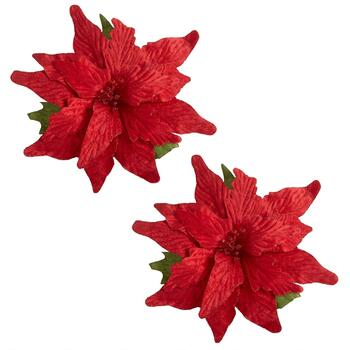 Velvet Poinsettia Clip-On Ornaments, Set of 2
