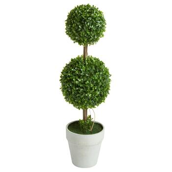 "24"" Artificial Boxwood Ball Tiered Topiary Tree"