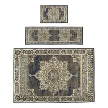 Dark Blue Medallion Printed Rug Set, 3-Piece