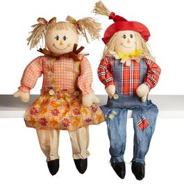 "33"" Farm Boy and Girl Sitting Scarecrows Set"