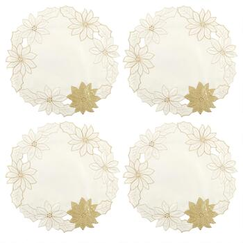 White/Gold Flower Cutwork Placemats, Set of 4